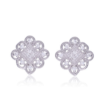 Flawless cubic SS platinum Plated Lace Design Square Shape Earrings