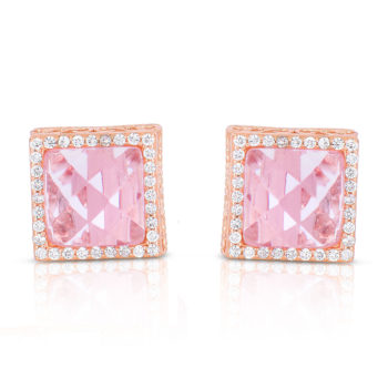Flawless cubic SS Rose Plated Pink Square Stud Earrings