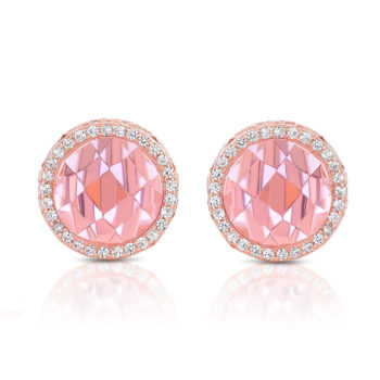 Flawless cubic SS Rose Plated Pink Round Stud Earrings
