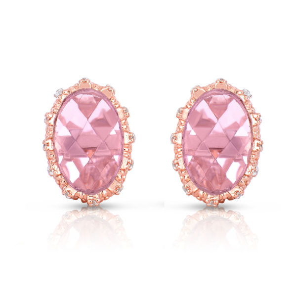 Flawless cubic SS Rose Plated Pink Oval Shape Stud Earrings