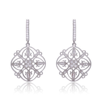 Flawless cubic SS platinum Plated Fancy Lace Design Drop Earrings