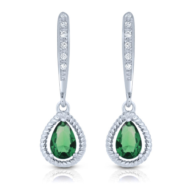 Flawless cubic SS platinum Plated Emerald Teardrop Earrings