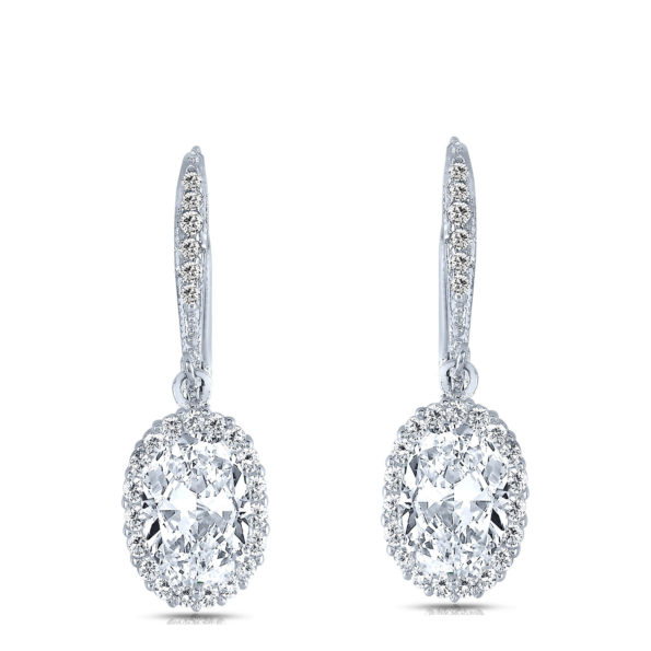 Flawless cubic Sterling Silver platinum Plated Oval Drop Euro Earrings