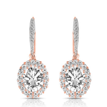 Flawless cubic SS Rose Plated Oval Shape Drop Earrings