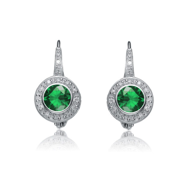 Flawless cubic Sterling Silver platinum Plated Round Stud Emerald Drop Euro Earrings