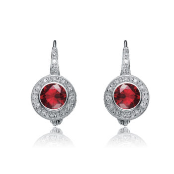 Flawless cubic Sterling Silver platinum Plated Round Ruby Stud Drop Euro Earrings