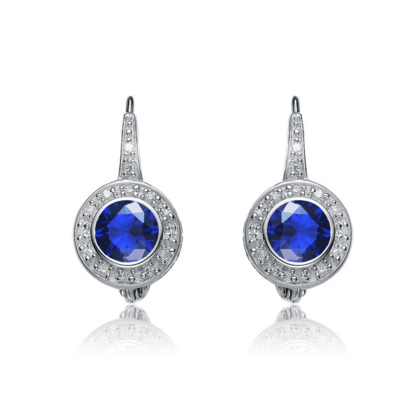 Flawless cubic Sterling Silver platinum Plated Round Sapphire Stud Drop Euro Earrings