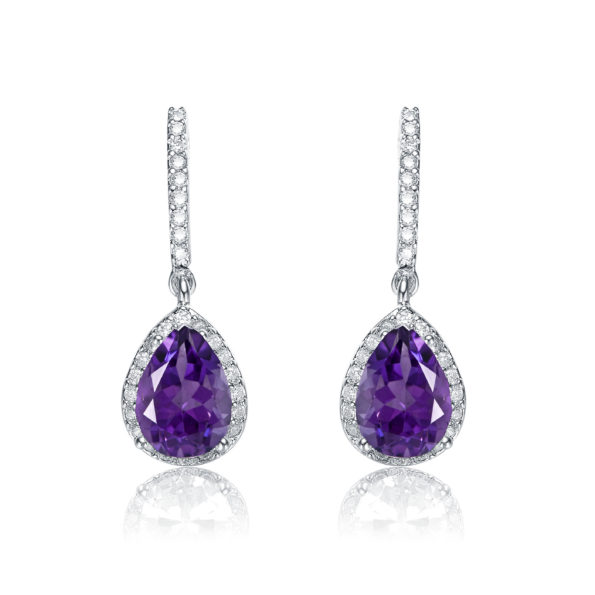 Flawless cubic SS platinum Plated Amethyst Teardrop Earrings