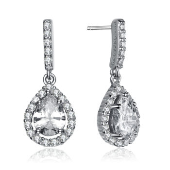 Flawless cubic SS platinum Plated Teardrop Earrings