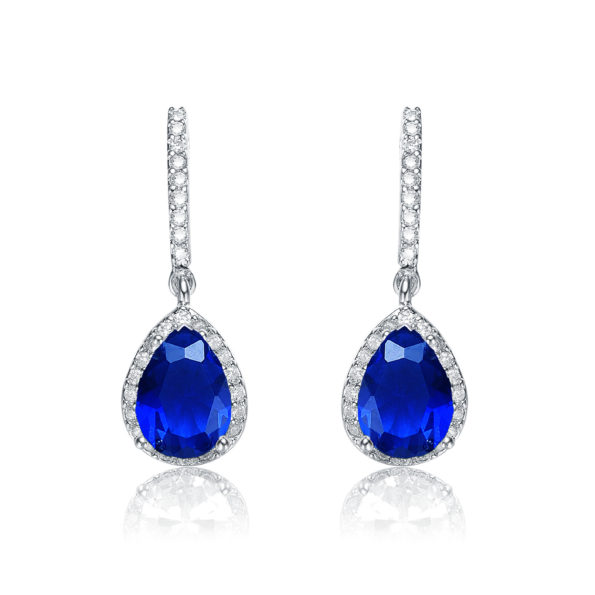 Flawless cubic SS platinum Plated Sapphire Teardrop Earrings