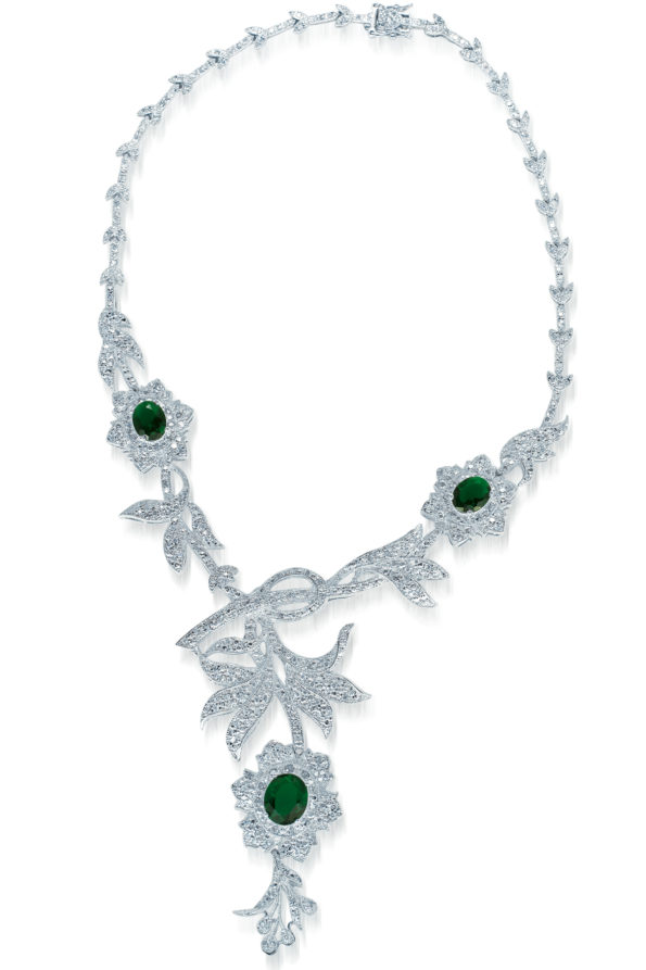 Flawless cubic Sterling Silver platinum Plated Heavy Flower Shape Emerald Drop Necklace