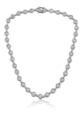 Flawless cubic Sterling Silver platinum Plated Round Circle Necklace