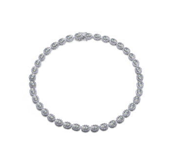 Flawless cubic Sterling Silver platinum Plated Oval Shape Necklace
