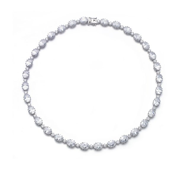 Flawless  cubic Sterling Silver Classic Oval Necklace