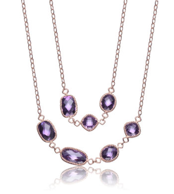 Flawless cubic Sterling Silver Rose Plated Amethyst Necklace