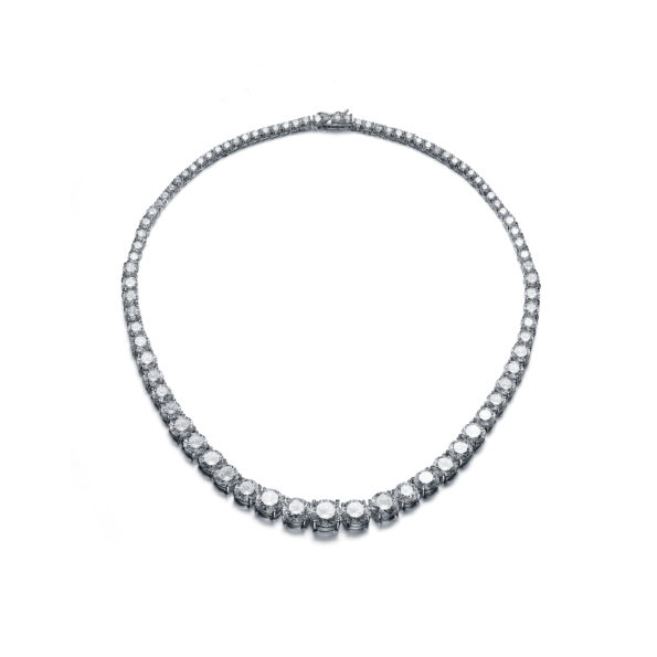 Flawless cubic Sterling Silver platinum Plated Round Graduated Necklace