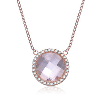 Flawless Rose-plated Sterling Silver Morganite Cubic Zirconia Necklace