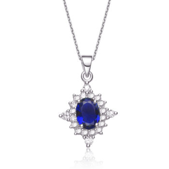 Flawless cubicSterling Silver platinum Plated Diamond Shape Sapphire Pendant