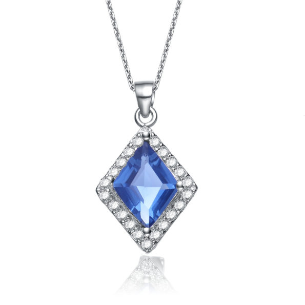 Flawless cubic Sterling Silver platinum Plated Sapphire Diamond Shape Drop Pendant