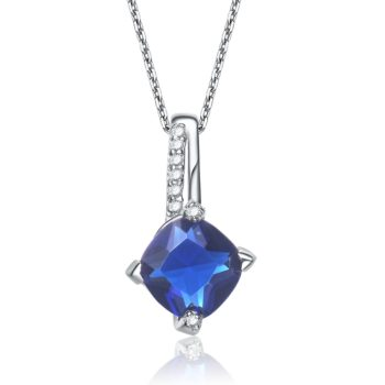 Flawless cubic Sterling Silver platinum Plated Round Sapphire Prong Set Pendant