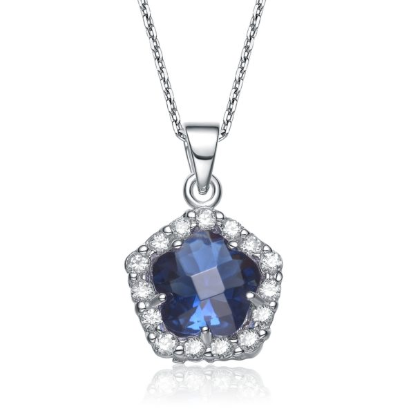 Flawless cubic Sterling Silver platinum Plated Sapphire Flower Shape Drop Pendant
