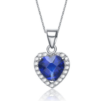 Flawless cubic Sterling Silver platinum Plated Sapphire Heart Shape Drop Pendant