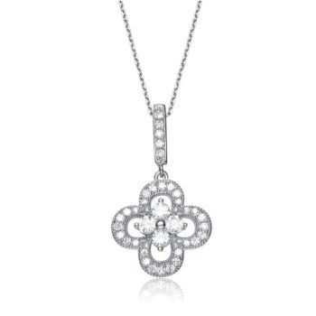 Flawless cubic Sterling Silver platinum Plated Flower Shape Micro Pave Pendant