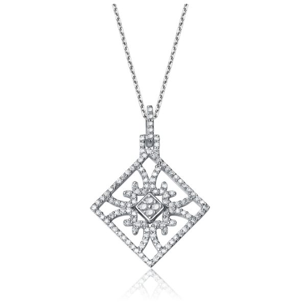 Flawless cubic Sterling Silver Cubic Zirconia Square Drop Necklace