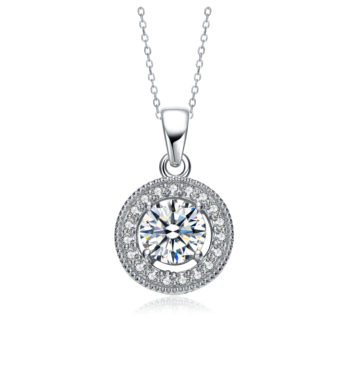 Flawless cubic Sterling Silver platinum Plated Round Drop Pendant