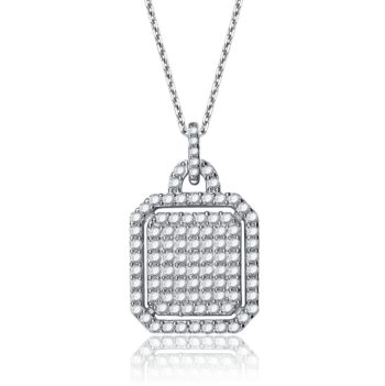 Flawless cubic Sterling Silver Cubic Zirconia Square-shaped Necklace