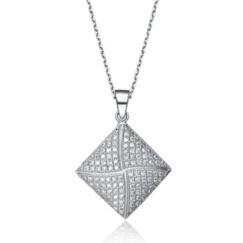 Flawless cubic Sterling Silver Cubic Zirconia Diamond-shaped Necklace