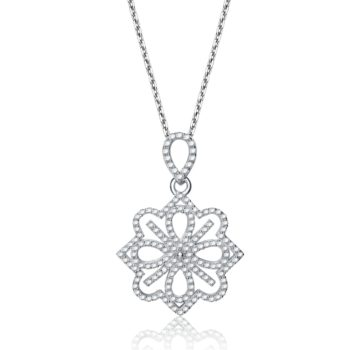 Flawless cubic Sterling Silver platinum Plated Micro Set Flower Shape Drop Pendant