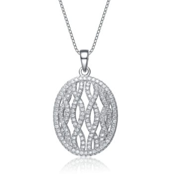 Flawless cubic Sterling Silver platinum Plated Oval Shape Drop Pendant