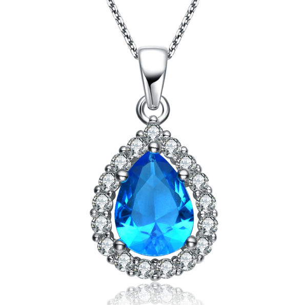 Flawless cubic SS platinum Plated Blue Topaz Pear Shape Pendant