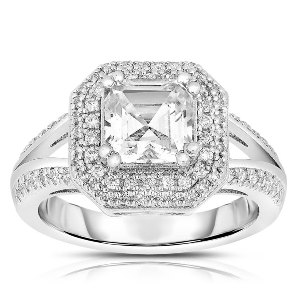 Flawless cubic Sterling Silver Square-cut Cubic Zirconia Ring