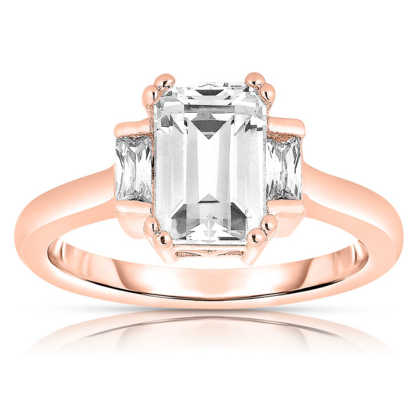 Flawless cubic Rose Plated Sterling Silver Asscher-cut Cubic Zirconia Ring