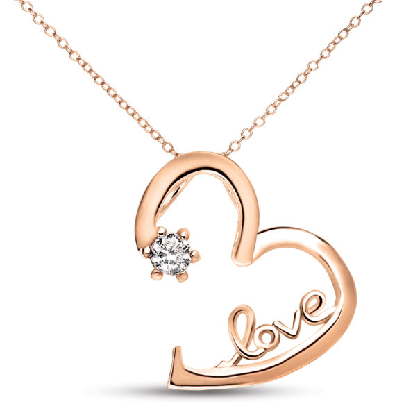 """Megan Walford  14k Rose Gold Plated over sterling silver """" Love """" Heart Shape Pendant"""